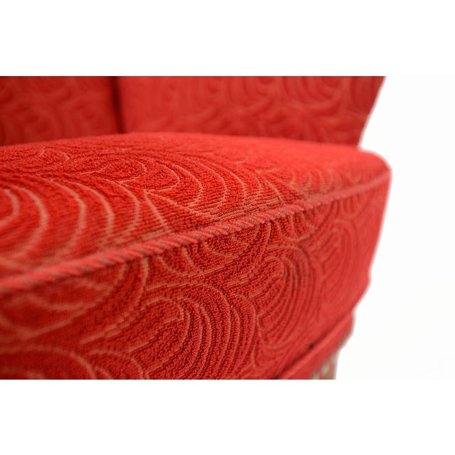 Danish Modern Crimson Frieze Club Chair - Image 11 of 11