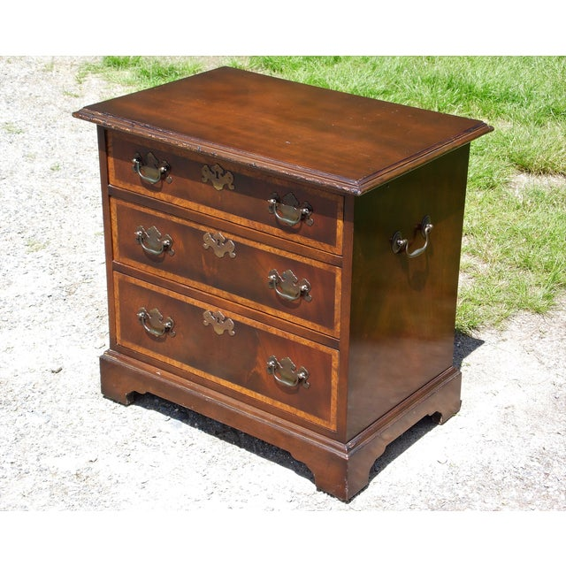 Brown Vintage English Provincial Style Mahogany Banded Chest End Table Night Stand For Sale - Image 8 of 13