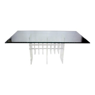 Sculptural Lucite Dining Table With Glass Top