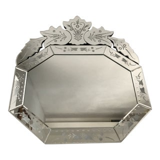 Venetian Glass Octagonal Bevelled Etched Mirror For Sale