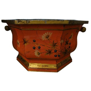 Large Italian Tole Paint and Gilt Decorated Jardiniere or Cachepot For Sale