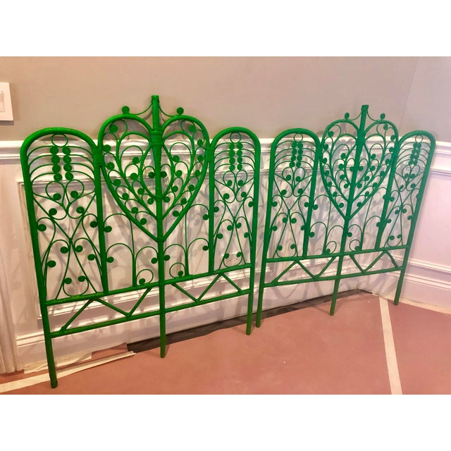Vintage pair of peacock style wicker headboard. This pair is a rich emerald green color and ready to add that pop of color...