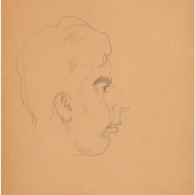 1940s Paul Travis Self Portrait Drawing For Sale - Image 4 of 4