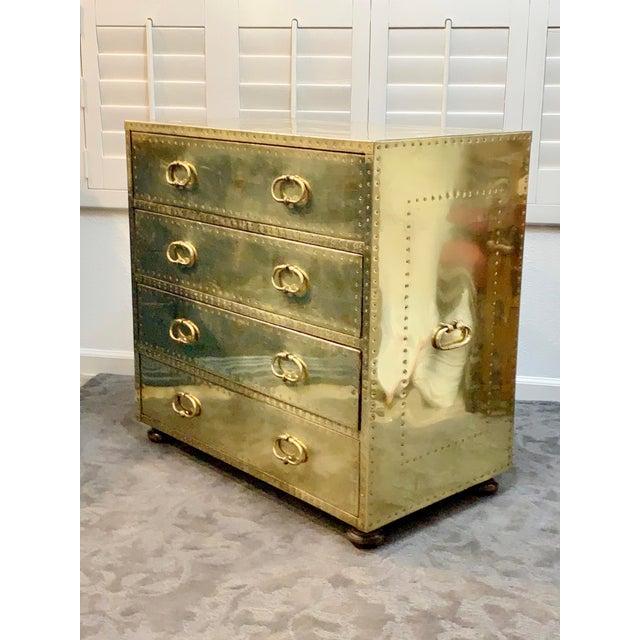 Hollywood Regency 1970's Vintage Brass Dresser by Sarreid Ltd. For Sale - Image 3 of 10