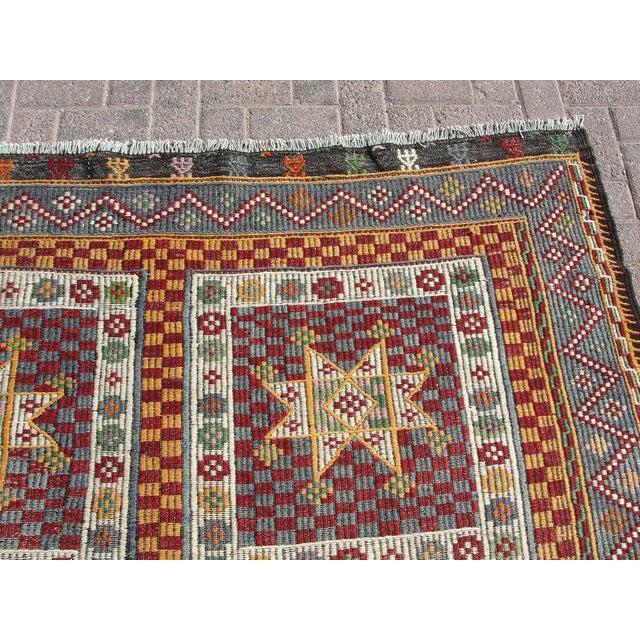 "Vintage Handmade Turkish Kilim Rug - 6'4"" X 8'3"" For Sale - Image 5 of 11"