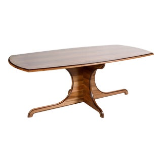 2019 Contemporary Carved Walnut Dining Table For Sale