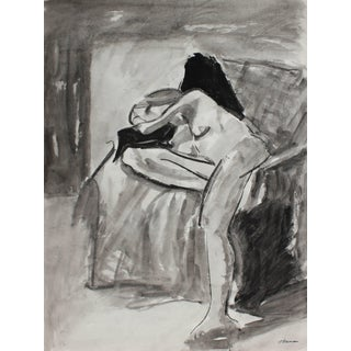 Jack Freeman Interior With Bay Area Figure, Charcoal & Ink, 1971 1971 For Sale