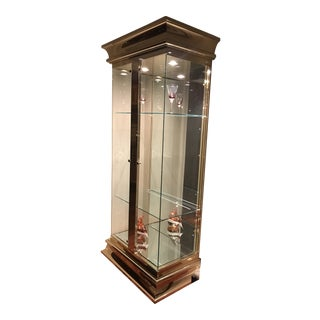 Large Lighted Glass and Golden Gilt Display Cases - a Pair