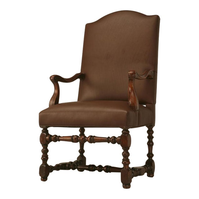 Restored 18th C. Antique French Leather Throne Chair - Image 1 of 10 - World-Class Restored 18th C. Antique French Leather Throne Chair