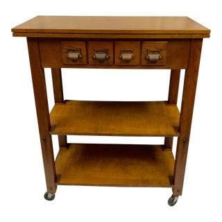 1940s Mid-Century Modern Wood Laboratory Table Bar Cart