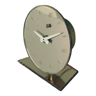 Electric Peach Glass Clock for the Table or Vanity, Art Deco/Machine Age For Sale