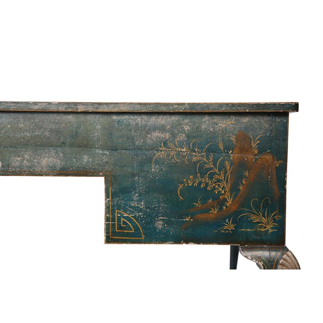 Metal Queen Anne Style Green Patinated Desk For Sale - Image 7 of 8