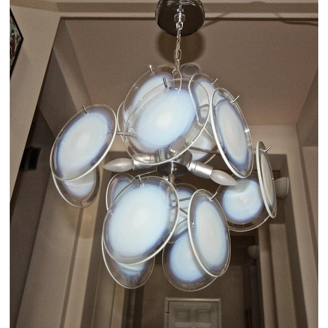 1960s Vistosi Murano Clear & Opalescent Glass Disc Chandelier Pendant Light For Sale - Image 5 of 13