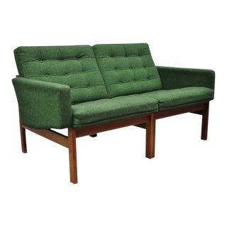 1960s Vintage Gjerlov Knudsen & Torben Lind for France & Son Green Teak Moduline Loveseat Sofa For Sale