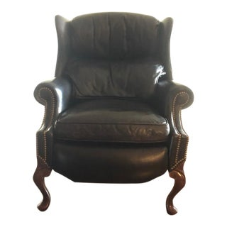 Hancock & Moore Black Leather Reclining Wing Chair