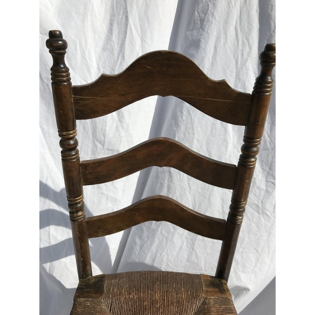 Antique Ladder Back Rush Seat Chair For Sale - Image 4 of 9