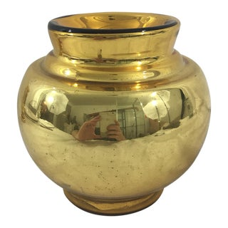 Large Antique Gold Mercury Glass Vase For Sale
