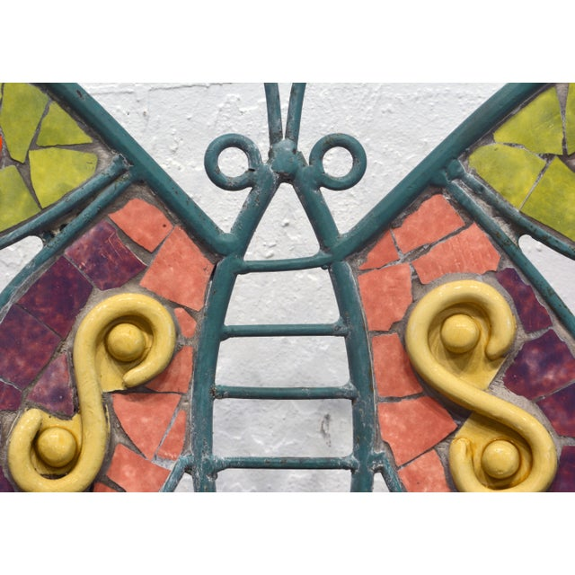 Aqua Unique Painted Iron and Inlaid Ceramic Mosaic Butterfly Chairs - a Pair For Sale - Image 8 of 13