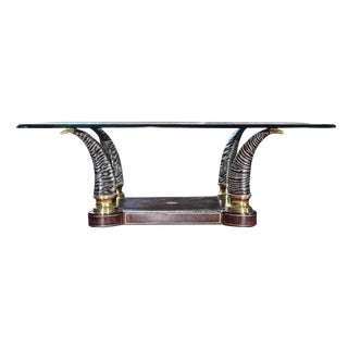 Vintage Hollywood Regency Maitland Smith Glass Top Sable Horn Coffee Table For Sale