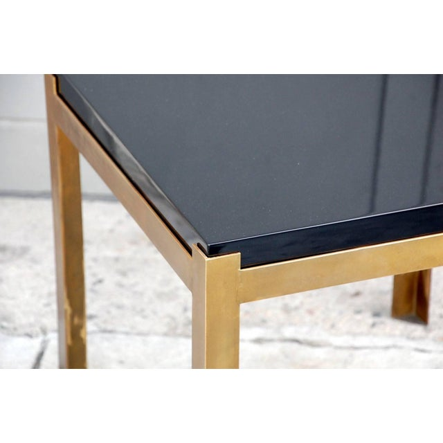 Early 21st Century Contemporary Design Frères 'Caisson' Lacquer and Patinated Brass Side Tables - a Pair For Sale - Image 5 of 7