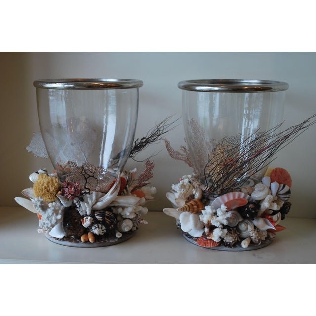 Modern Large Seashell Hurricane Lanterns - a Pair For Sale - Image 3 of 3