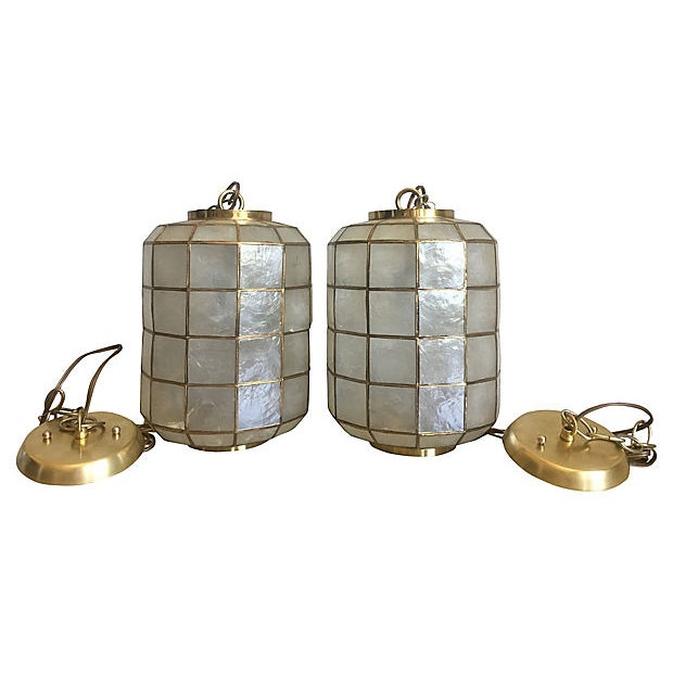 Capiz Shell Lanterns - a Pair For Sale - Image 9 of 9