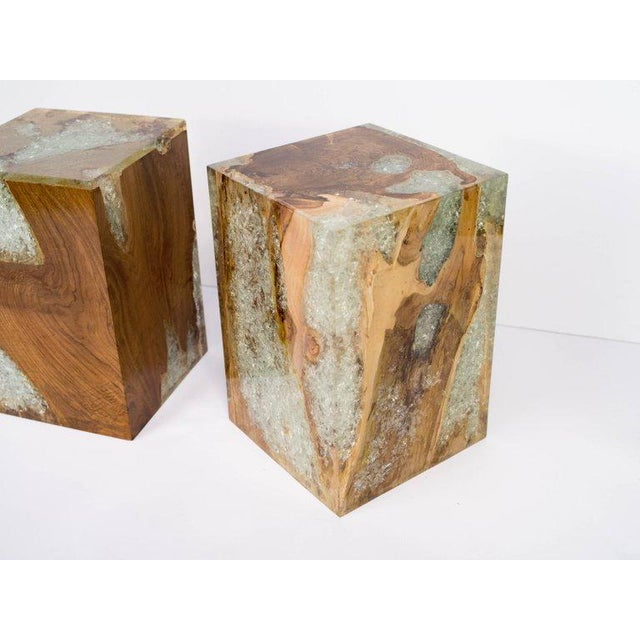 Contemporary Pair of Organic Modern Bleached Teak Wood and Resin Side Tables For Sale - Image 3 of 13