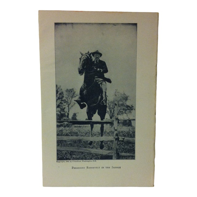 """1919 """"President Roosevelt in the Saddle"""" Theodore Roosevelt Print on Paper For Sale"""