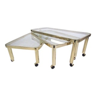 Modern Brass Three-Tier Coffee Table by Dia For Sale