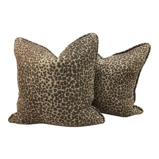 Modern Schumacher Leopard Print Custom Pillows - a Pair For Sale