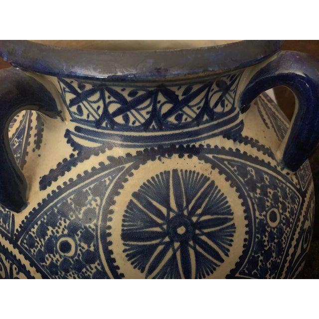Large Moroccan Hispano-Moorish Blue and White Ceramic Handled Jar For Sale - Image 4 of 13