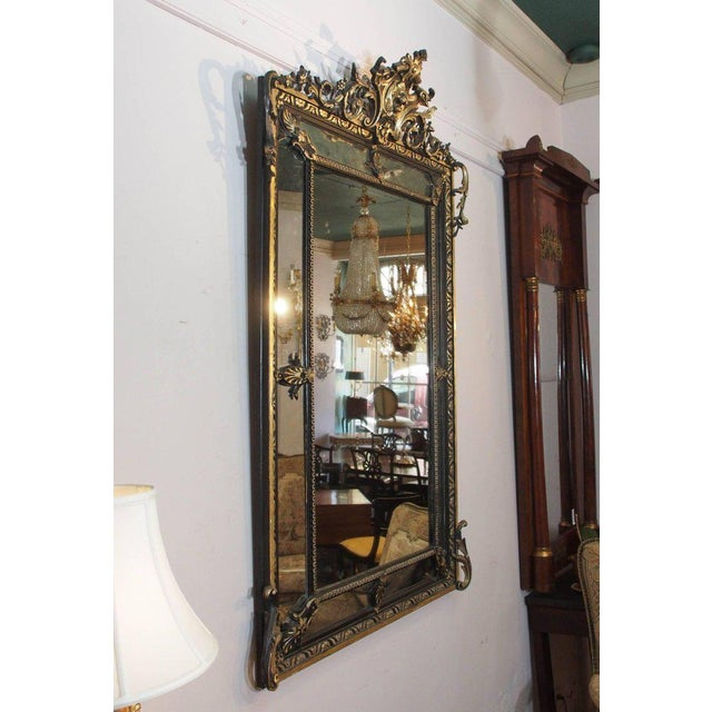 Rococo Antique French Giltwood & Ebonized Mirror For Sale - Image 3 of 7