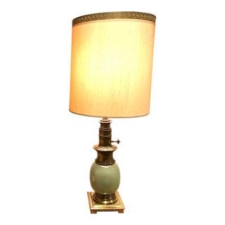 Mid-Century Modern Stiffel Celadon Ostrich Egg Lamp For Sale