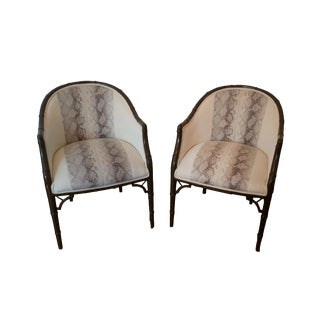 Transitional Faux Snakeskin and Cream Velvet Barrel Chairs - a Pair For Sale