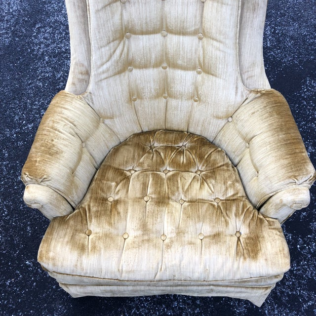 1970s Vintage Hollywood Regency Style Velvet Tufted Tassel Club Chairs - A Pair For Sale - Image 9 of 13