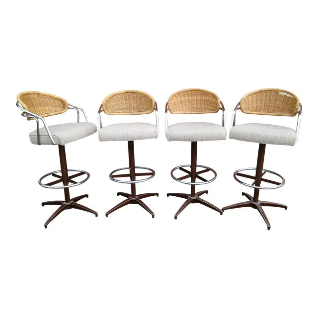 Vintage Samsonite Wicker & Upholstered Swivel Bar Stools - Set of 4 For Sale