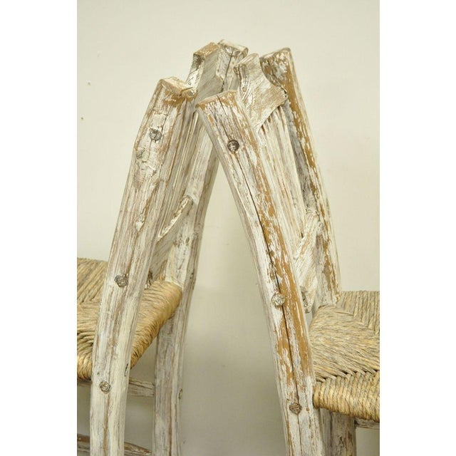 White 2 Rustic Country Log Cabin Wood Branch Rush Seat Bar Stools Chair Hickory Style For Sale - Image 8 of 11