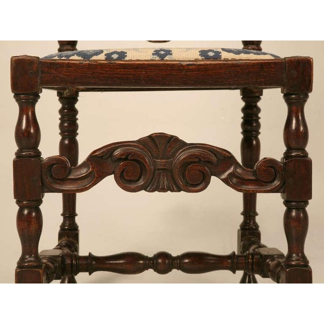 Wood Antique French Hand Carved Needlepoint Seat Side Chair For Sale - Image 7 of 10