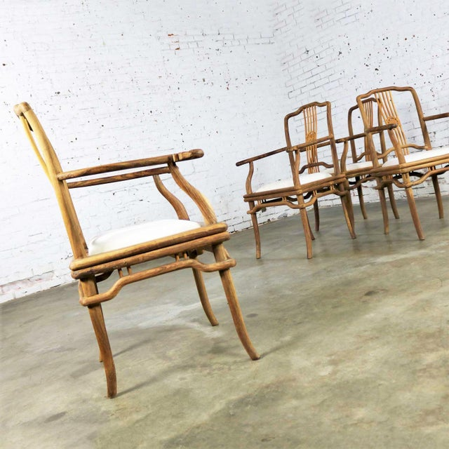 Asian Set of Four Natural Teak Indonesian Ming Style Dining Armed Chairs With Upholstered Seats For Sale - Image 3 of 13