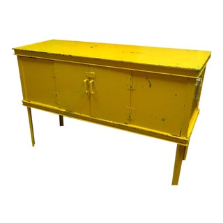 Credenza, Entertainment Center, Storage Cabinet of Industrial Steel in As-Found Yellow Paint For Sale