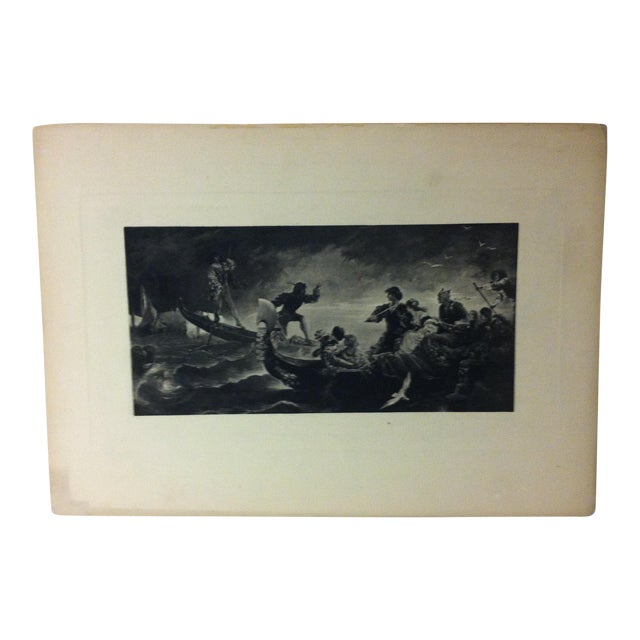 "Vintage Print on Paper, ""On the Water"" -- Artist Unknown, Circa 1900 For Sale"