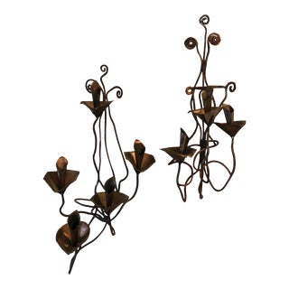 Original Handmade Copper Scrolling Sconces - a Pair For Sale