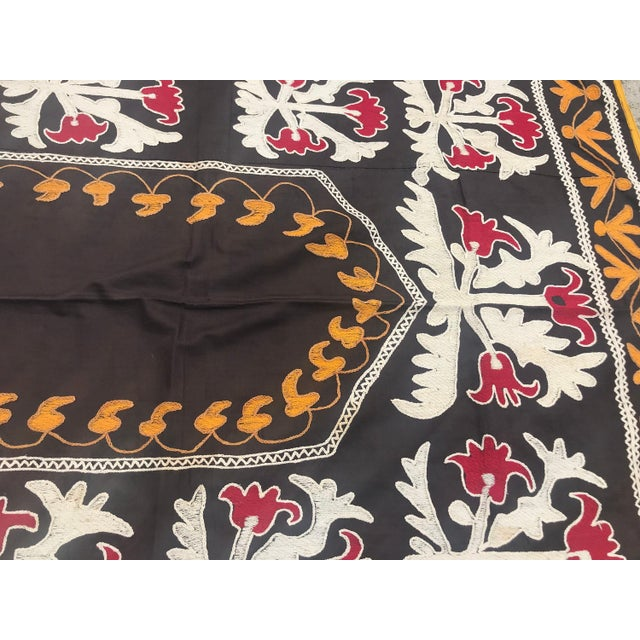 "Textile Traditional Tablecloth / Antique Suzani Tapestry - 3'9"" x 3'5"" For Sale - Image 7 of 8"