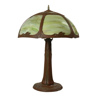 Antique Arts & Crafts Bent Slag Glass Table Lamp by Bradley & Hubbard circa 1920 For Sale