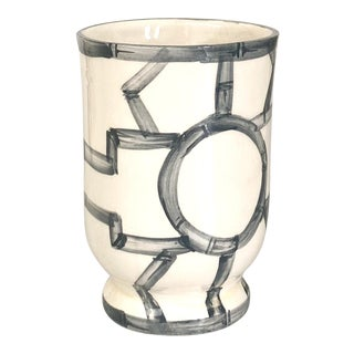 Hand Painted Fretwork Tumbler in Graphite For Sale