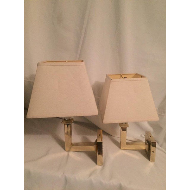Vintage Modern Square Arm Wall Lamps Heavy Brass in the Style of Karl Springer - a Pair For Sale - Image 12 of 12
