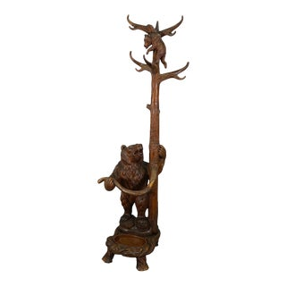 Carved Wood Bear Hallstand, Swiss Brienz Ca. 1900 For Sale
