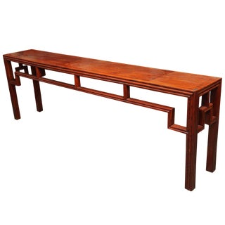 Antique Chinese Geometrical Design Long Elmwood Console Table, Early 1900s For Sale