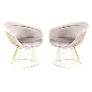 Mid-Century Style Gold Lounge Chairs - a Pair