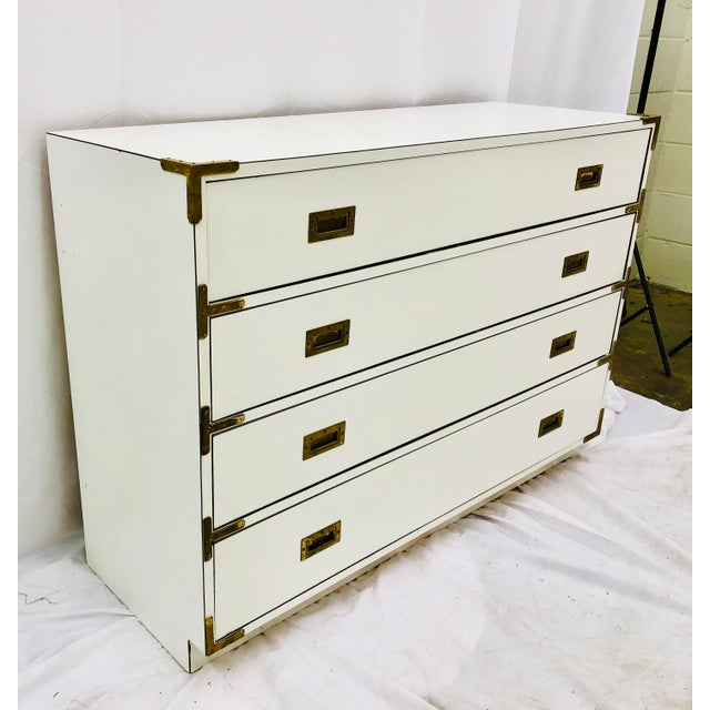 Metal Vintage Campaign Style Dresser Chest For Sale - Image 7 of 10